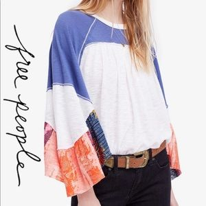 Free People Friday Fever White and Blue Flowy Top